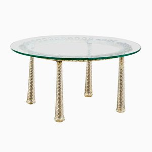 Low Table with Brass and Metal Frame, 1930s