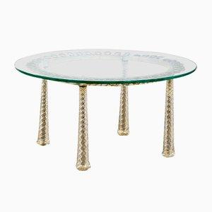 Niedriger Tisch mit Gestell aus Messing & Metall, 1930er