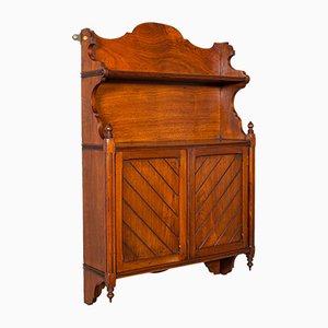 Antique English Mahogany Wall Mounted Cabinet