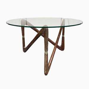Mid-Century Italian Wood and Brass Coffee Table by Angelo Ostuni, 1950s
