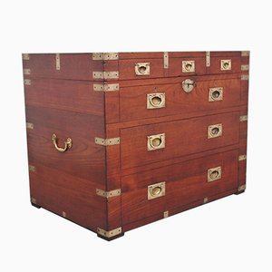 19th-Century Teak and Brass Bound Campaign Trunk