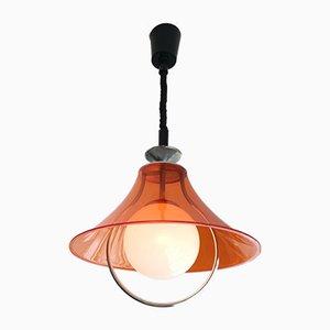Mid-Century Scandinavian Orange Acrylic Pull Down Lamp, 1970s