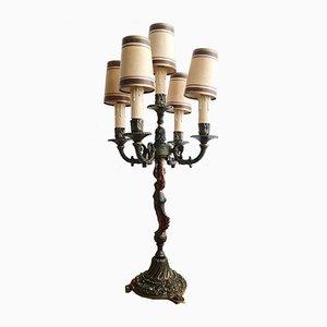 Antique Art Nouveau Bronze 5-Arm Candelabra Table Lamp, 1900s