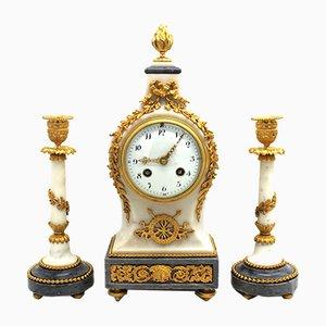 Pendulum Clock with Napoleon III Candlesticks in Golden Bronze and Marble, 19th-Century, Set of 3