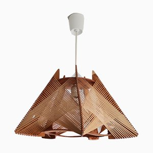 Mid-Century Modern French Wooden Hanging Lamp, 1960s