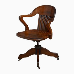 Chaise de Bureau Pivotante Victorienne en Noyer