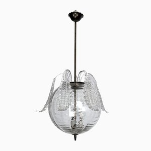 Mid-Century Murano & Clear Bullicante Glass Chandelier from Barovier, 1940s