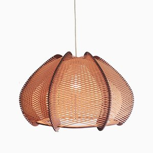 Large Mid-Century French Wooden Hanging Lamp, 1960s