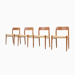 Model 75 Teak & Paper Cord Chairs by Niels Otto (N. O.) Møller for J.L. Møllers, 1960s, Set of 4