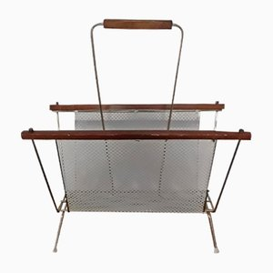 Vintage Newspaper Stand with Brass Frame, 1970s
