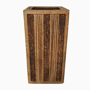 Stoneware Flower Vase by Jean Derval for Capron Vallauris