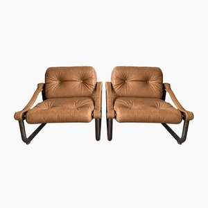 Mid-Century Modern Italian Cognac Leather and Burnished Brass Armchairs, 1970s, Set of 2