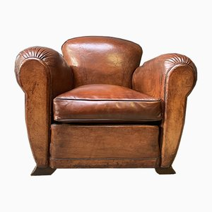 Art Deco French Leather Club Chair, 1920s