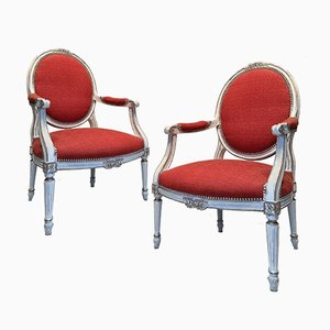 Louis XVI Style Armchairs in Patinated Wood, 19th-Century, Set of 2