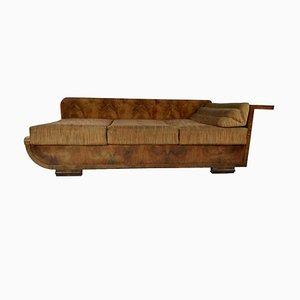 Art Deco Nussholz Sofa, 1940er