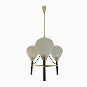 Lampadario a 3 luci con mongolfiera di Stilnovo, anni '50