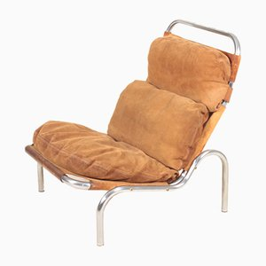 Mid-Century Lounge Chair in Patinated Suede and Steel by Erik Jørgensen, 1960s