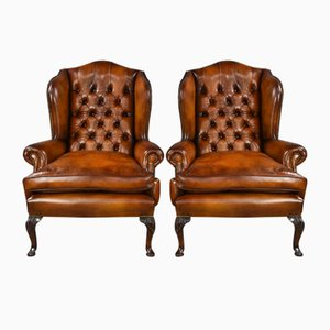 Antique Deep Buttoned Leather Wing Chairs, Set of 2
