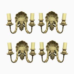 Geschnitzte & bemalte Muschel Wandleuchten, 4er Set