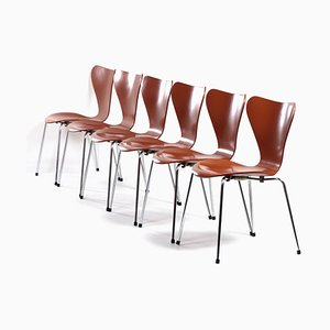 Butterfly Chairs by Arne Jacobsen for Fritz Hansen, 1970s, Set of 6