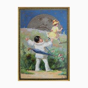 Ölgemälde, Pierrot, Colombine und der Mond von Luigi Loir, 1890er