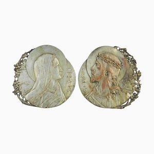Französische Jugendstil Jesus und Maria Dekorationen von Raoul Lamourdedieu, 2er Set