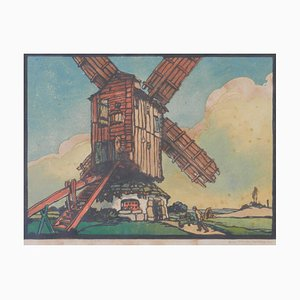 French Woodcut, Mill by Marcel Haussaire, 1900s