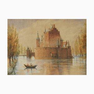 Château Original d'Aquarelle par Lake, Début du 20ème Siècle
