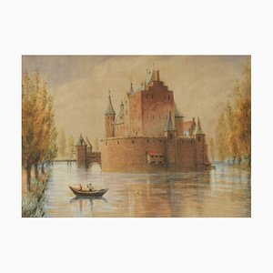 Original Watercolor Castle by Lake, Early 20th Century