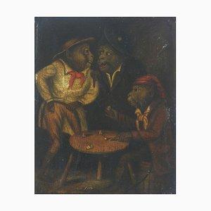 Jeu de Trois Singes, 19ème Siècle, Peinture à l'Huile
