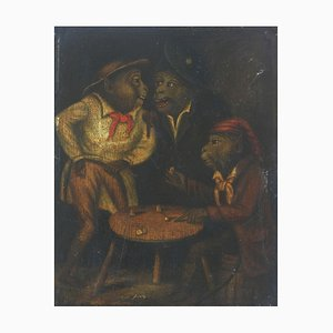 Three Monkeys Gambling, 19th Century, Oil Painting
