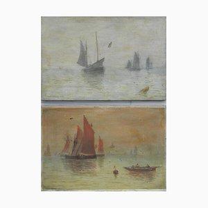 Barcos y el mar de J Whitmore, pintura al óleo, 1907