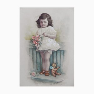 Young Child with Teddybear Watercolor by A. Reng, 1918