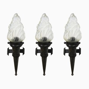 Large French Forged Iron & Glass Wall Light, 1930s