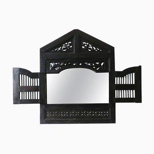 Spiegel mit geschnitztem Holzrahmen, 1980er