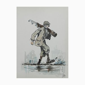 Caricature of Golfer by Peter Hobbs, Water Bunker Golf Painting, 1950