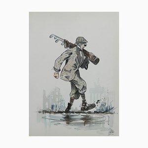 Caricature of Golfer von Peter Hobbs, Water Bunker Golf Painting, 1950