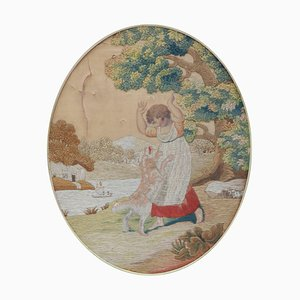 19th-Century Tapestry, Child with Dog