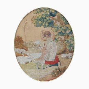 Wandteppich, Kind mit Hund, 19. Jh
