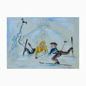 Mid-Century Skiers Amusing Caricature Watercolor, 1952