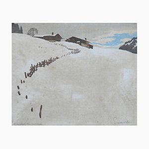Mountain Snow Scene German Engraving, Early 20th Century