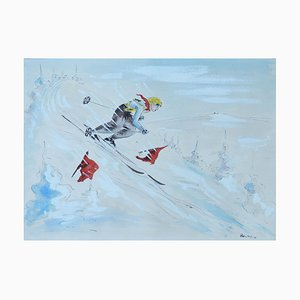 Mid-Century Skier Watercolor, 1952