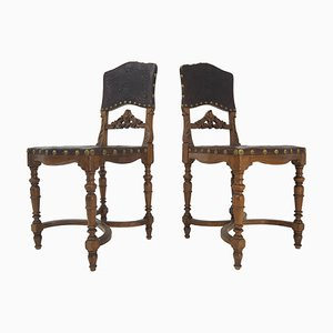 Antique Embossed Leather Chairs, Set of 2