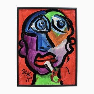 Portrait eines Mannes mit blauen Augen von Peter Robert Keil, 1985