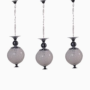 Chromed Metal and Glass Lamps, Italy ,1960s, Set of 3