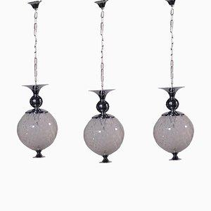 Lampade in metallo cromato e vetro, Italia, anni '60, set di 3