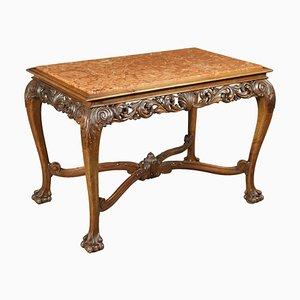 Revival Walnut Red Table, Italy, 20th Century
