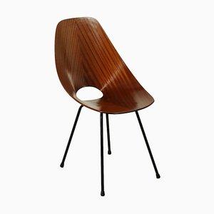 Sedia in legno curvato e metallo di Vittorio Nobili per Tagliabue, Italia, anni '50