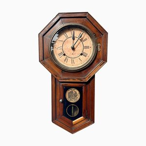 Antique Victorian Eight Day Drop Dial Wall Clock, 1890s