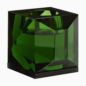 Portalampada Ophelia in cristallo verde scolpito a mano